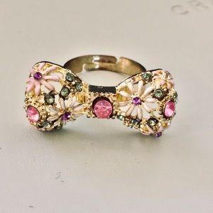 Gold Bow Filagree Flower Multi Stone Enamel Ring